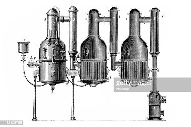 old engraved illustration of vacuum distillation for water apparatus - whiskey stock illustrations