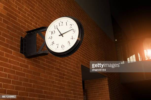 old fashion clock on the walls. - minute hand stock illustrations
