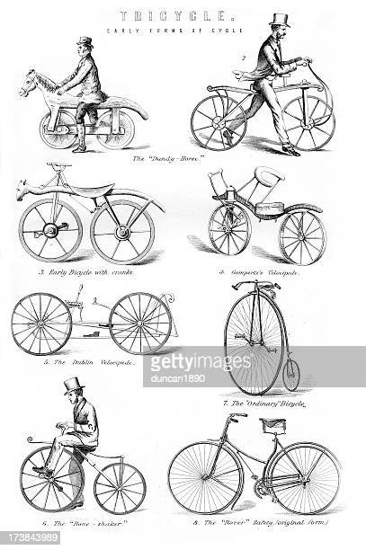 old fashioned bicycles - obsolete stock illustrations