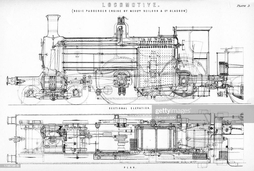 old steam locomotive diagram