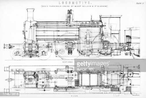 Old Fashioned Steam Train Locomotive High-Res Vector