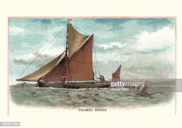 昔ながらのテムズのはしけ、ボート、19 世紀 - テムズ川点のイラスト素材/クリップアート素材/マンガ素材/アイコン素材