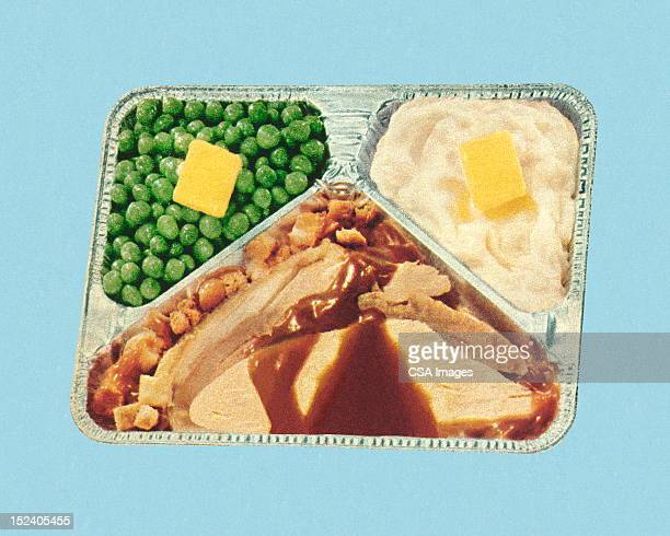 old fashioned tv dinner - food and drink stock illustrations