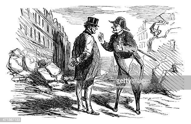 Old francés con un soldado de quejas;