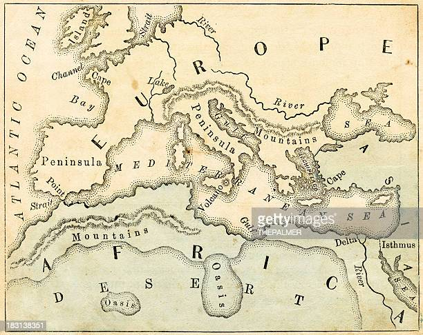 old geography map of europe