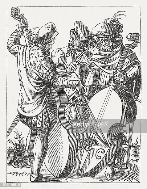 Old German musicians, wood engraving, published in 1877
