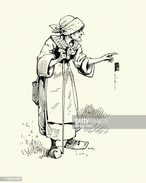 古いジプシーの女性が指差す、ビクトリア朝、19世紀 - 年配の女性点のイラスト素材/クリップアート素材/マンガ素材/アイコン素材
