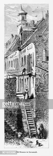 old historical homes in savannah, georgia, united states, american victorian engraving, 1872 - savannah georgia stock illustrations, clip art, cartoons, & icons