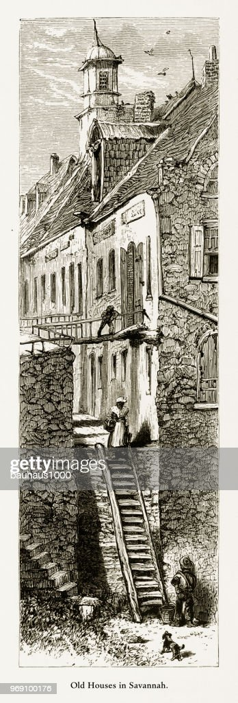 Old Historical Homes in Savannah, Georgia, United States, American Victorian Engraving, 1872 : stock illustration