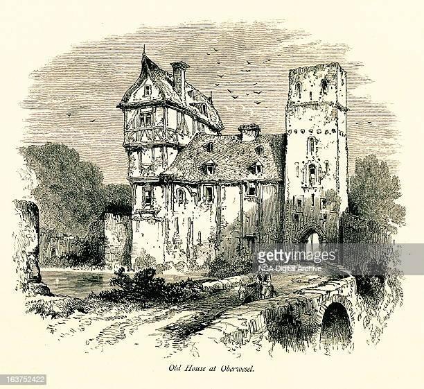 Old house at Oberwesel, Germany I Antique European Illustrations