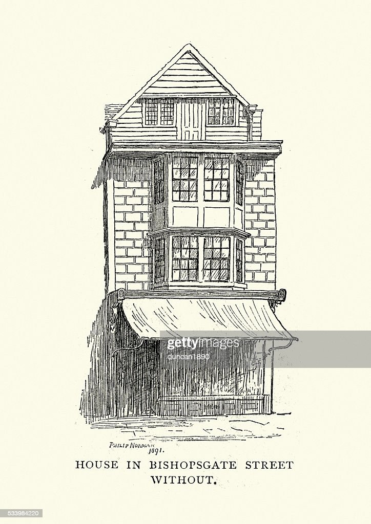 Old house in bishopsgate street london stock illustration for Classic house old street london