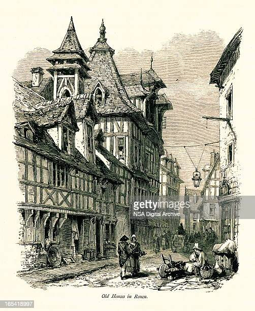 old houses in rouen, france, - normandy stock illustrations, clip art, cartoons, & icons