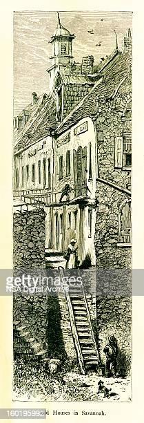 old houses in savannah, georgia, usa - savannah georgia stock illustrations, clip art, cartoons, & icons