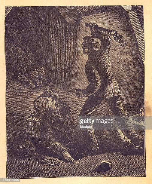 Old Illustration of Man Protecting Sleeping Person From Wolf