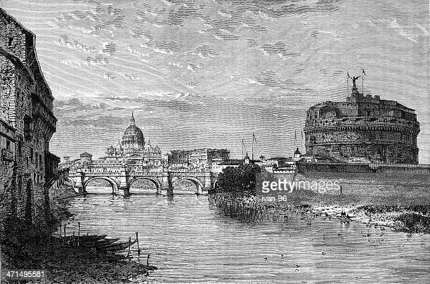 old illustration of tiber river and st. peter's basilica - castel sant'angelo stock illustrations