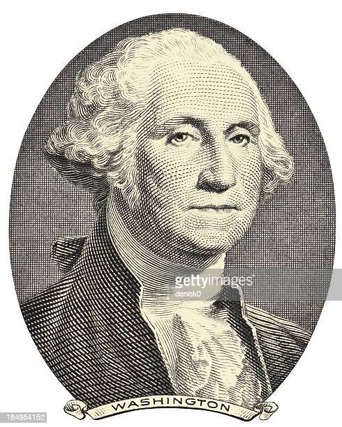 old image of george washington on a white background - american one dollar bill stock illustrations, clip art, cartoons, & icons