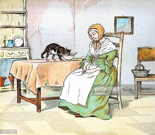 ilustrações de stock, clip art, desenhos animados e ícones de old lady sono, enquanto o gato rouba o seu pequeno-almoço - mesa cafe da manha