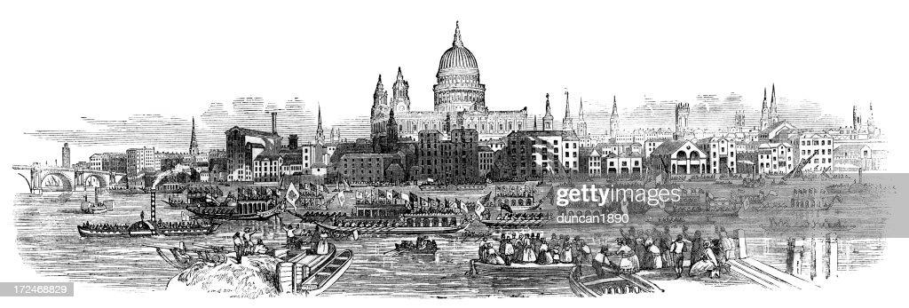 Old London Skyline Stock Illustration