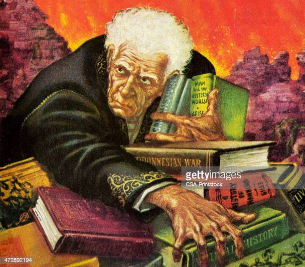 Old Man Clutching Books