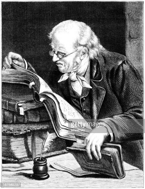 Old man reading books (Victorian illustration)