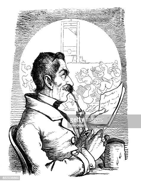Old man smokes a pipe. - 1867