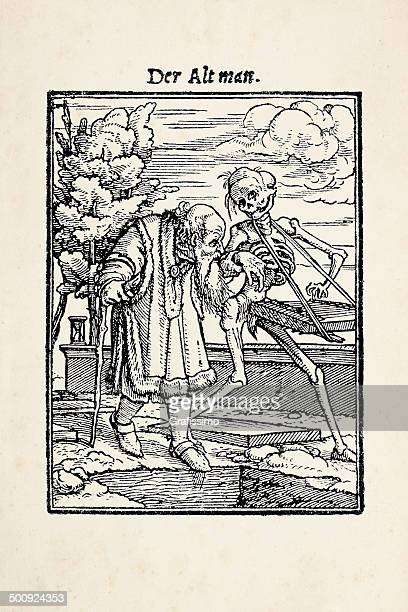 old man with skeleton from dance of death after holbein - tarot cards stock illustrations, clip art, cartoons, & icons