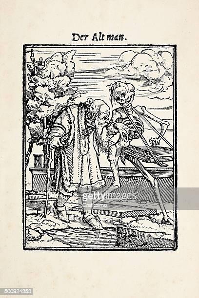 Hombre viejo con el esqueleto de danza de la muerte después de Holbein