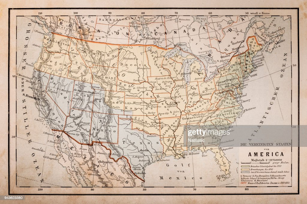 Old Map Of America High-Res Vector Graphic - Getty Images