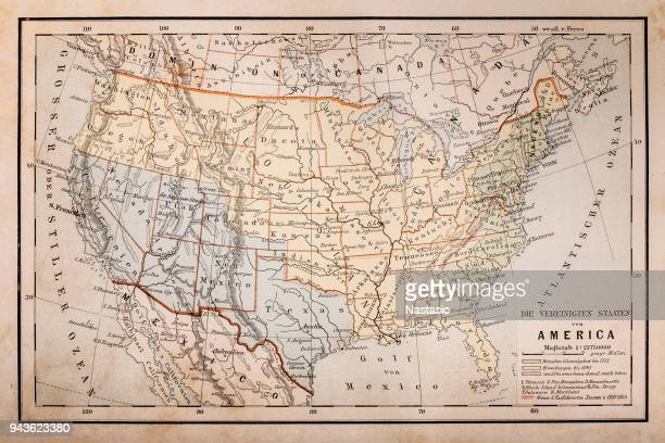 old map of america - usa stock illustrations