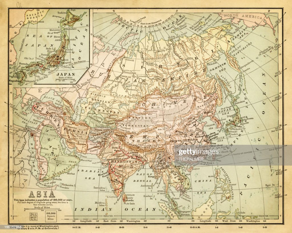 Old map of asia stock illustration getty images old map of asia stock illustration publicscrutiny Gallery