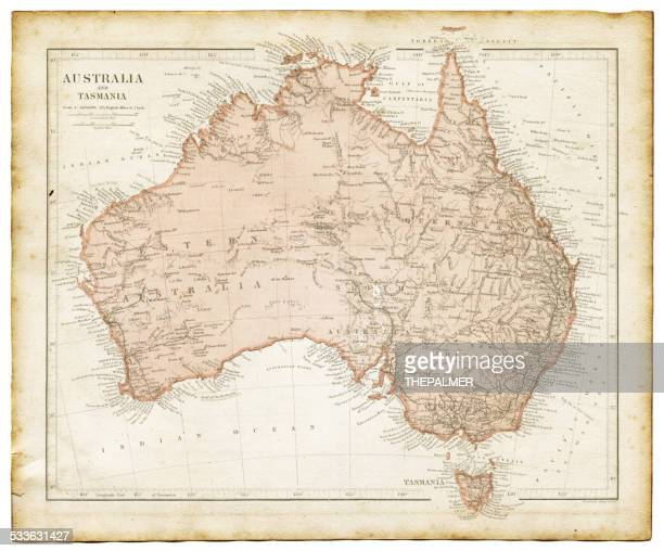 old map of australia 1899 - australia stock illustrations