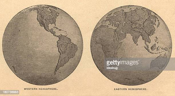 Old, Map of Eastern and Western Hemispheres, From 1875