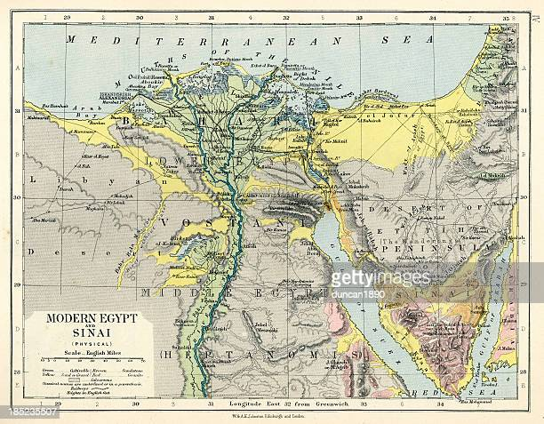 old map of egypt and sinai - suez canal stock illustrations
