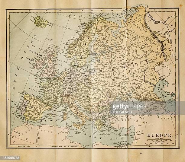 ilustraciones, imágenes clip art, dibujos animados e iconos de stock de antiguo mapa de europa 1884 - geografía física