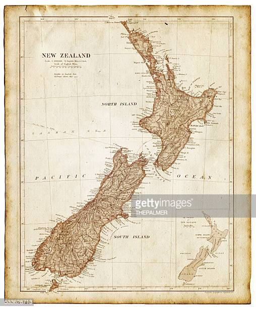 old map of new zealand and tasmania 1899 - new zealand stock illustrations