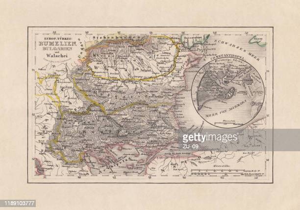 old map of romania and bulgaria, steel engraving, published 1857 - ottoman empire stock illustrations