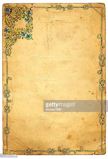 ilustraciones, imágenes clip art, dibujos animados e iconos de stock de antiguo diseño de bastidor medieval iluminada - edad media