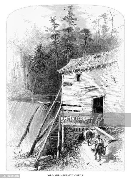 ilustraciones, imágenes clip art, dibujos animados e iconos de stock de antiguo molino a reems creek, río francés amplio, north carolina, estados unidos, americano grabado victoriano, 1872 - mula