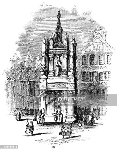 old monument to joan of arc at the old market square in rouen, france - 16th century - rouen stock illustrations, clip art, cartoons, & icons