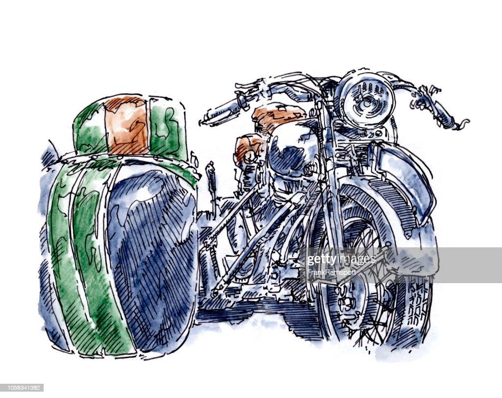 Alte Motorrad Beiwagen Vorderansicht Tusche Zeichnung und Aquarell : Stock-Illustration