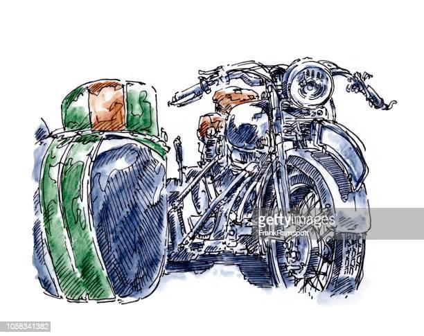 Alte Motorrad Beiwagen Vorderansicht Tusche Zeichnung und Aquarell