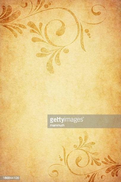 old paper with calligraphic floral corners