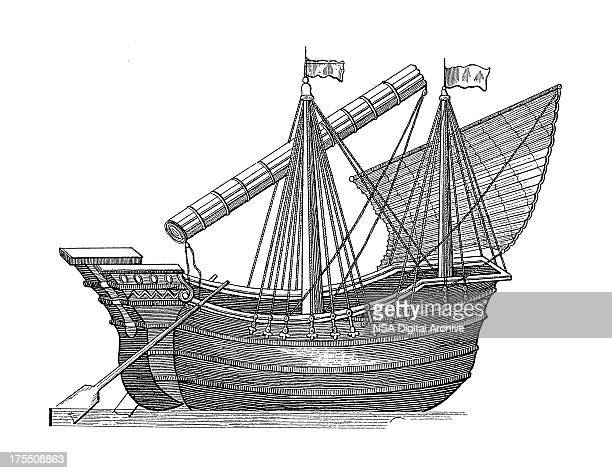 old phoenician cargo ship | antique marine illustrations - the past stock illustrations