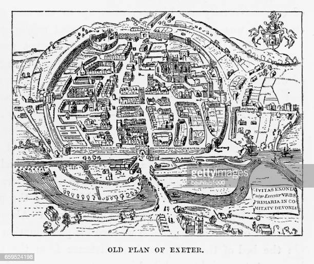 Old Plan of Exeter in Devon, England Victorian Engraving, 1840
