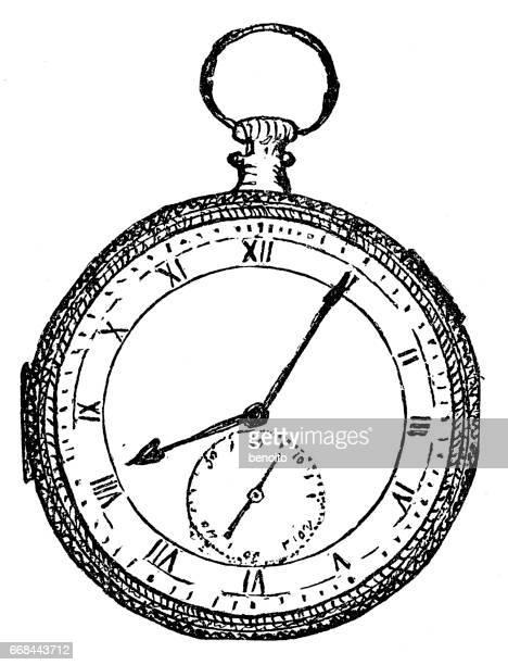 ilustraciones, imágenes clip art, dibujos animados e iconos de stock de old pocket watch - reloj de bolsillo