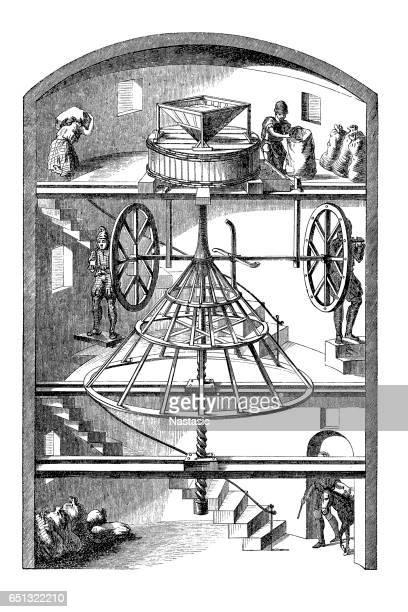 Illustrations et dessins anim s de moulin farine getty images - Coloriage farine ...