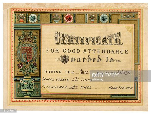 old school attendance certificate, 1887 - 1887 stock illustrations, clip art, cartoons, & icons