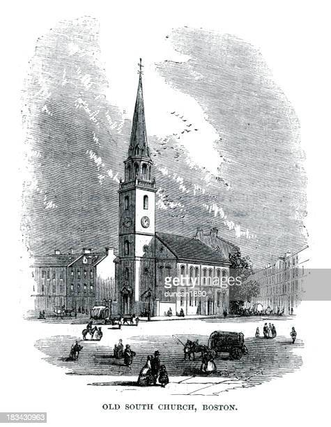 old south church, boston - spire stock illustrations, clip art, cartoons, & icons