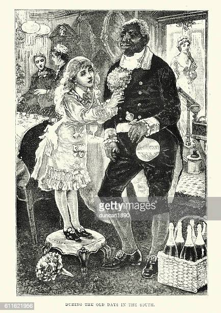 Old South - Girl and African American Servant