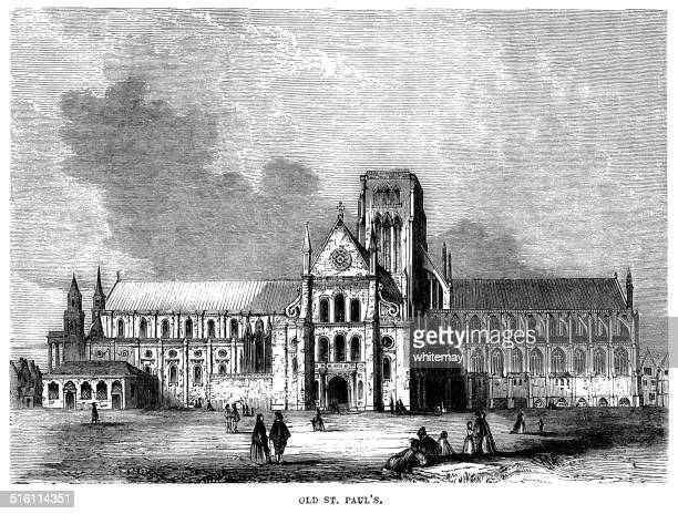 old st paul's, london - st. paul's cathedral london stock illustrations